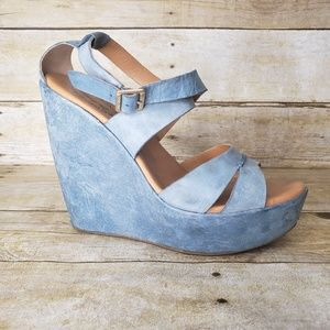 Kork-Ease Blue Leather Wedge Platform Sandals